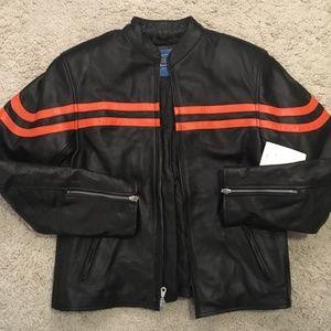 NWT Xelement 801 Orange Stripe Leather Jacket (L)